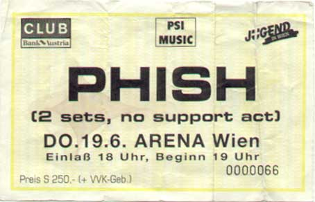 June 19, 1997 Vienna Ticket